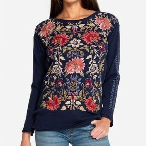 JOHNNY WAS Simona Floral Embroidered Thermal Top